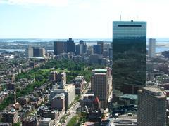 Aerial view of boston downtown area Stock Photos