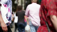 Busy street with anonymous walking people. Stock Footage