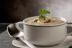 Stock Photo of mushroom soup with parsley