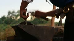 Medieval Footage Elements - Blacksmith CloseUp and anvil - stock footage