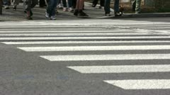 Pedestrian crossing in a city Stock Footage