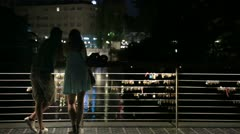 Romance on bridge in Ljubljana Stock Footage