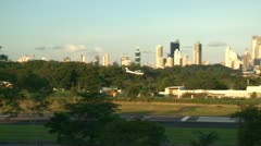 Panama City: Single engine airplane on final approach at small airport Stock Footage