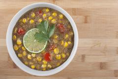 amaranth corn chowder with lime - stock photo