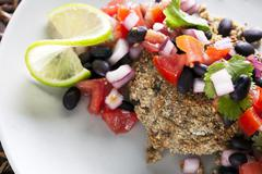 black bean salsa veggie burger - stock photo