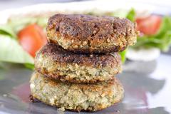 three falafel patties - stock photo