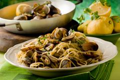 pasta with clams - stock photo