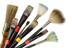artist's used brushes - stock photo