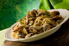 Stock Photo of pasta with clams