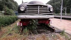 Vintage Road Rail Vehicle in Sinaia Romania Stock Footage