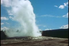 Old Faithful, wide shot, Yellowstone National Park Stock Footage