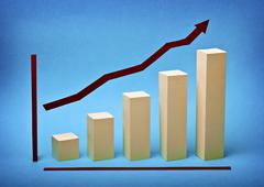 Business graph chart growth made ??out of paper Stock Photos