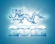 water dragon symbol of 2012 - stock photo