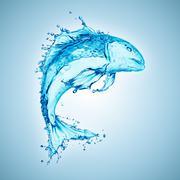 Water fish splash isolated on white background Stock Photos