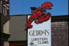 Lobster sign above restaurant, close up, Bar Harbor, Maine Stock Footage
