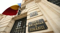 Stock Video Footage of National Bank of Romania Frontal View