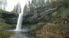 Silver Falls State Park in Oregon south waterfall Stock Footage