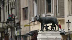 Capitoline Wolf Statue in Bucharest Romania Stock Footage