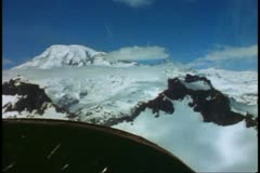 Aerial, Mount Rainer, airplane panel, POV, prop turning, Mount Rainer National Stock Footage