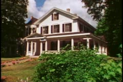 Old New England white clapboard house, Bar Harbor, Maine - stock footage