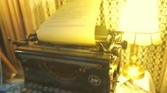 Old Typewriter closeup view Stock Footage
