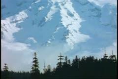 Mt. Rainer, medium shot of top, tilt up, Mount Rainer National Park Stock Footage