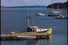 Bar harbor, harbor, boat in the harbor, very calm scene, Bar Harbor, Maine - stock footage