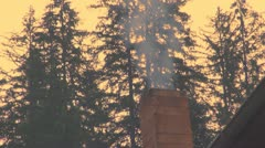 Chimney of a Chalet at Sunset, Chimney of a Lodge for Tourists Stock Footage