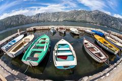 A small bay with boats Stock Photos