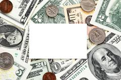 blank business card on money background - stock photo