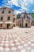 fish-eye view of the old city on sky background - stock photo