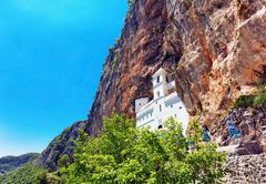 View on ostrog ortodox monastery. Stock Photos