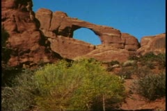 Arches National Park, Moab, Utah, wide shot, long arch Stock Footage