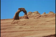 Arches National Park, Moab, Utah, close up Delicate Arch Stock Footage