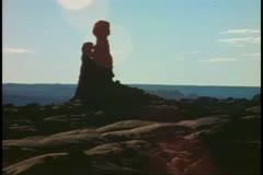 Arches National Park, Moab, Utah, balanced rock, backlighting, silhouette Stock Footage