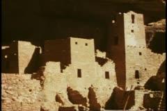 Cliff houses, medium shot, Mesa Verde National Park, Colorado - stock footage