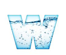 one letter of water wave alphabet - stock photo