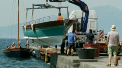 Lifting boat out of the water (PART 3) Sorrento Stock Footage