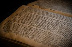 An open bible in hebrew Stock Photos