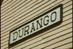 Close up of sign of Durango Railroad station, Durango, Colorado Stock Footage