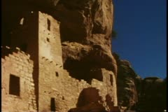 Cliff houses, medium shot of tower, Mesa Verde National Park, Colorado Stock Footage