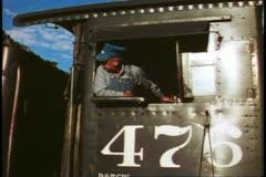 Durango Silverton Railroad, engineer in cab, Durango, Colorado - stock footage