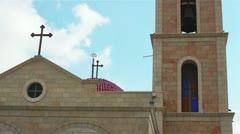 Greek Orthodox monastery on Shepherds Fields in Beit Sahour near Jerusalem Stock Footage