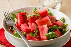 watermelon and arugula salad - stock photo