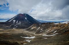 mount ngauruhoe and mount tongariro, tongariro national park, new zealand - stock photo