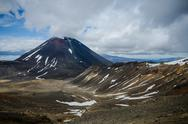 Stock Photo of mount ngauruhoe and mount tongariro, tongariro national park, new zealand