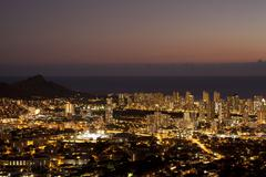 Waikiki Skyline at Night Stock Photos