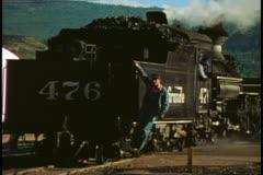 Durango Silverton Railroad, locomotive, fireman, coal car, Durango, Colorado Stock Footage