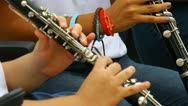 Stock Video Footage of young people playing clarinet flute in band 2