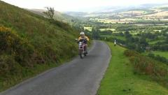 A motorbike on top of the Long Mynd, Shropshire Stock Footage